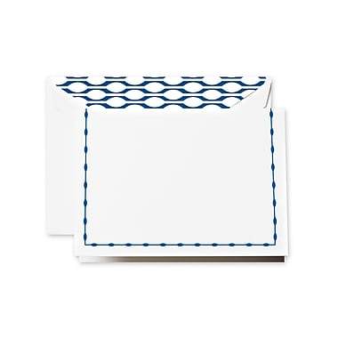 Crane & Co™ Lithographed Pearl White Note With Envelope, Regent Blue French Navy Frame