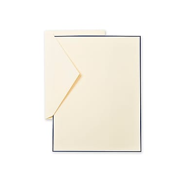 Crane & Co™ Lithographed Ecruwhite Half Sheet With Envelope, Regent Blue Bordered
