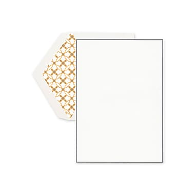 Crane & Co™ Lithographed Ecruwhite Half Sheet With Envelope, Charcoal Bordered