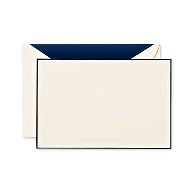 Crane & Co™ Navy Blue Bordered Lithographed Ecruwhite Correspondence Card With Envelope, Navy Bordered