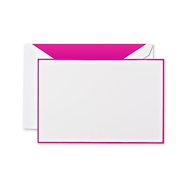 Crane & Co™ Lithographed Pearl White Correspondence Card With Envelope, Raspberry Bordered