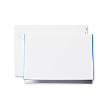 Crane & Co™ Pearl White Note With Envelope, Newport Blue Bordered