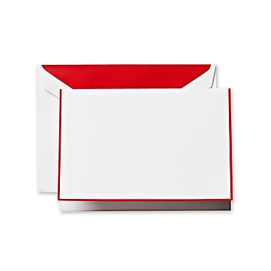 Crane & Co™ Pearl White Note With Envelope, Red Bordered