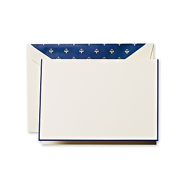 Crane & Co™ Ecru Fleur de Lis Note With Envelope, Navy Bordered