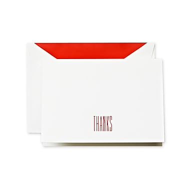 Crane & Co™ Hand Engraved Pearl White Thank You Note With Envelope, Red