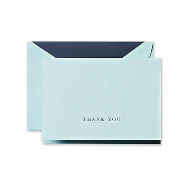 Crane & Co™ Hand Engraved Beach Glass Thank You Note With Envelope, Charcoal Grey