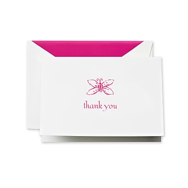 Crane & Co™ Pearl White Thank You Note With Envelope, Raspberry Butterfly