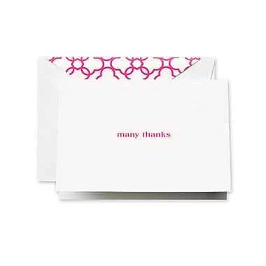 Crane & Co™ Pearl White Many Thanks Note With Envelope, Raspberry