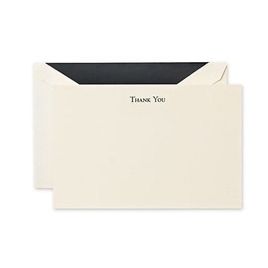 Crane & Co™ Hand Engraved Ecru Thank You Card With Envelope, Black