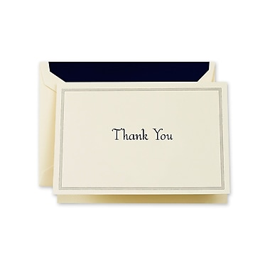 Crane & Co™ Ecru Triple Hairline Thank You Note With Envelope, Regent Blue