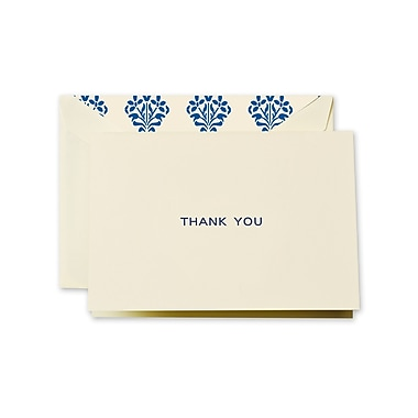 Crane & Co™ Ecru Thank You Note With Envelope, Navy Blue Fashion Liner