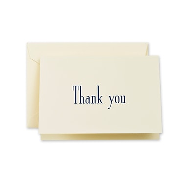 Crane & Co™ Ecru Thank You Note With Envelope, Navy Blue