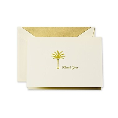 Crane & Co™ Hand Engraved Ecru Thank You Note With Envelope, Moss Green Palm Tree
