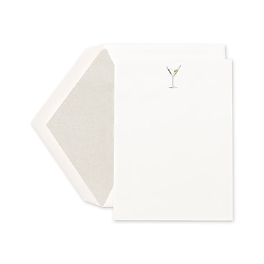 Crane & Co™ Hand Engraved Pearl White Imprintable Invitation Card With Envelope, Platinum Martini