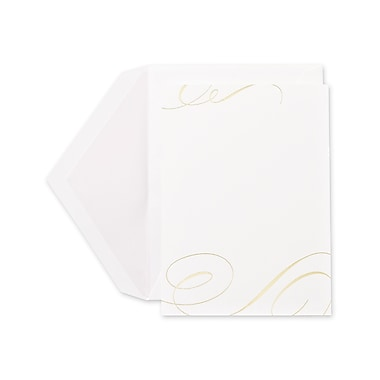 Crane & Co™ Foil Stamped Pearl White Printable Invitation Card With Envelope, Gold Flourish