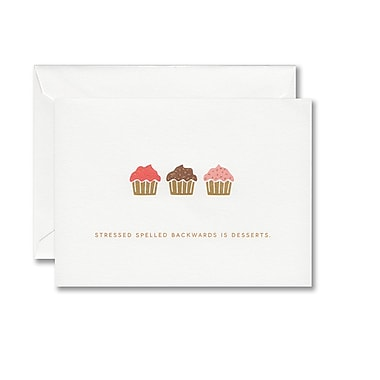 William Arthur Foil Stamped White Note With Envelope, Gold Cupcake
