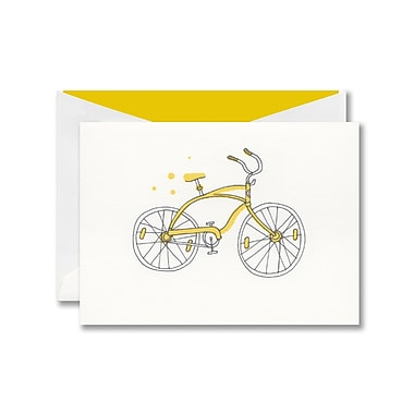 William Arthur Thermographed White Note With Envelope, Saffron Bicycle