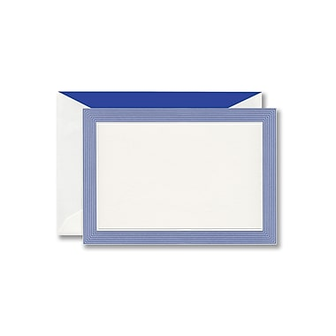 William Arthur White Correspondence Card With Envelope, Marine Blue Striped Border