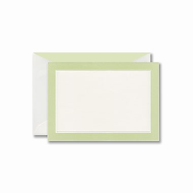 William Arthur White Correspondence Card With Envelope, Celery Striped Border
