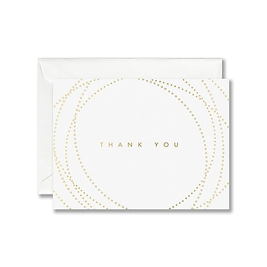 William Arthur White Thank You Note With Envelope, Gold Dots