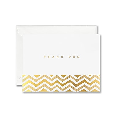 William Arthur White Thank You Note With Envelope, Gold Chevron