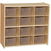 """Wood Designs™ Contender™ 27 1/4""""H Assembled 12 Cubby Storage Unit With Clear Tubs, Baltic Birch"""