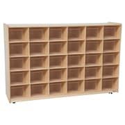 Wood Designs™ Cubby Storage Cabinet With 30 Translucent Trays, Birch