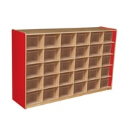 Wood Designs™ Cubby Storage Cabinet With 30 Translucent Trays, Strawberry Red