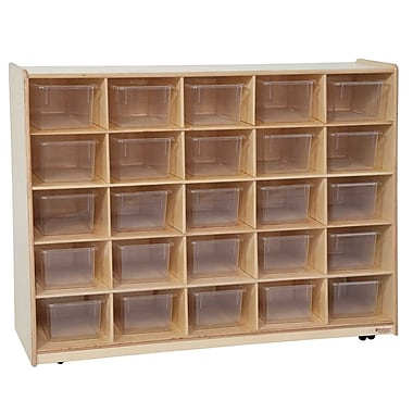 Wood Designs™ Tip-Me-Not™ 30in.H Cubby Storage Unit With 25 Translucent Trays, Birch