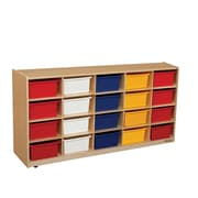 """Wood Designs 20 - 5"""" Letter Tray Storage Unit With 20 Assorted Trays, Birch"""