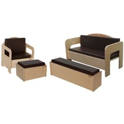 Wood Designs™ Children's Furniture With Brown Cushions, 4 Piece/Set