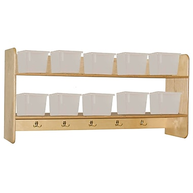 Wood Designs™ Wall Locker and Storage With 10 Translucent Trays, Birch