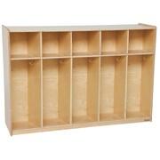 "Wood Designs™ Tip-Me-Not™ 54""W Five Section Tot Locker, Natural Wood"