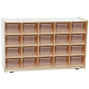 Wood Designs 20 Tray Mobile Shelves Island With 20 Translucent Trays, Birch
