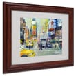 Trademark Fine Art 11in. x 14in. Acrylic Times Square, Dark Wooden Frame