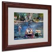 "Trademark Fine Art 11"" x 14"" Acrylic Waiting to Ride Artwork, Dark Wood"