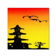 Trademark Fine Art 24 x 24 Wooden Frame Pagoda Sunset