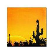 Trademark Fine Art 24 x 24 Wooden Frame Saguaro Sunset Artwork