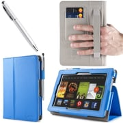 "i-Blason Slim Book Leather Case With Bonus Stylus For 7"" Amazon Kindle Fire HD 2013, Blue"