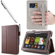 "i-Blason Slim Book Leather Case With Bonus Stylus For 7"" Amazon Kindle Fire HD 2013, Brown"