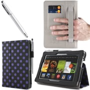"i-Blason Slim Book Leather Case With Bonus Stylus For 7"" Amazon Kindle Fire HD 2013, Dalmatian Black"