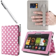"i-Blason Slim Book Leather Case With Bonus Stylus For 7"" Amazon Kindle Fire HD 2013, Dalmatian Pink"