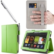 "i-Blason Slim Book Leather Case With Bonus Stylus For 7"" Amazon Kindle Fire HD 2013, Green"