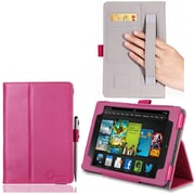 "i-Blason Slim Book Leather Case With Bonus Stylus For 7"" Amazon Kindle Fire HD 2013, Magenta"