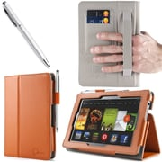 "i-Blason Slim Book Leather Case With Bonus Stylus For 7"" Amazon Kindle Fire HD 2013, Orange"