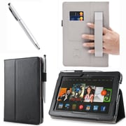 "i-Blason Slim Book Leather Case With Bonus Stylus For 8.9"" Amazon Kindle Fire HDX 2013, Black"
