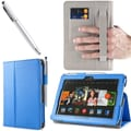 i-Blason Slim Book Leather Case With Bonus Stylus For 7in. Amazon Kindle Fire HDX 2013, Blue