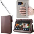 i-Blason Slim Book Leather Case With Bonus Stylus For 7in. Amazon Kindle Fire HDX 2013, Brown