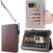 "i-Blason Slim Book Leather Case With Bonus Stylus For 7"" Amazon Kindle Fire HDX 2013, Brown"