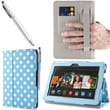 i-Blason Slim Book Leather Case With Bonus Stylus For 7in. Amazon Kindle Fire HDX 2013, Dalmatian Blue